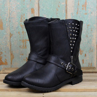 Hot to Trot Black Studded Cut Off Boots