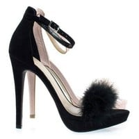 Madden33 Black By Wild Diva, Fluffy Faux Fur High Heel Sandal On Platform & Ankle Stra