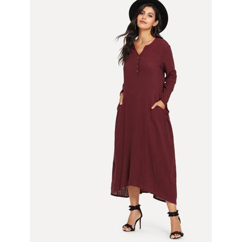 Hanky Hem Button Front Longline Dress