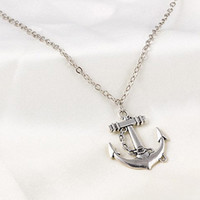 Silver Anchor Pendant Necklace Sailor Jewellry
