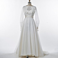1960's  Ivory White Chiffon Wedding Gown Full Sweep Skirt and Illusion Sleeves Keyhole Neck