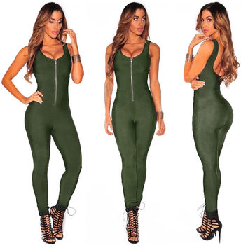 Olive Front Zip Sleeveless Jumpsuit
