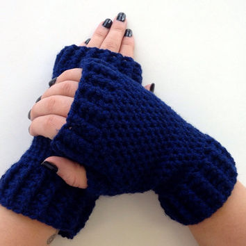 Crochet Fingerless Mittens Wrist Warmers Gloves in Blue Sapphire Navy