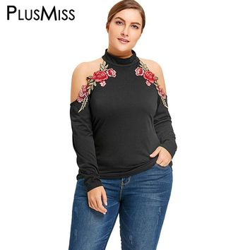 PlusMiss Plus Size 5XL Sexy Cold Shoulder Floral Embroidered Blouse Shirt Women Clothing Turtleneck Embroidery Tops Autumn 2017