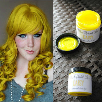 Yellow Hair Dye, Semi Permanent hair dye, Scene hair, emo hair, yellow dye, cosplay hair // Daisy