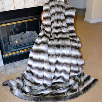 "Exotic Chinchilla Brown/Silver Faux Fur / Fake Fur Blanket Throw 60"" x 71"", Ready to Ship"