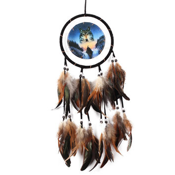 Indian Style Handmade DreamCatcher Oil Painting Wolf Dream Catcher Feather Bead Car Household  Hanging Decor Ornament