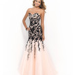 Peach & Black Strapless Sweetheart Beaded Lace Bodice Trumpet Gown