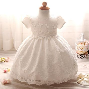 Baby Frock Design Toddler Girl Lace Christening Gown White Tulle Infant Princess Baptism Dress Baby Girls 1st Birthday Outfits