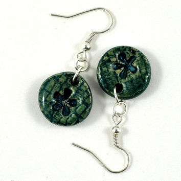Ceramic Earrings Handmade Jewellery Flower imprint Green Round disc with fused glass Comes in Handmade Gift Pouch