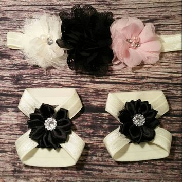 Baby Headband / Beautiful Tulle, Chiffon, and Satin Rhinestone on Ivory Band Baby Girl Headband and Barefoot Sandals Set! / Newborn / Infant