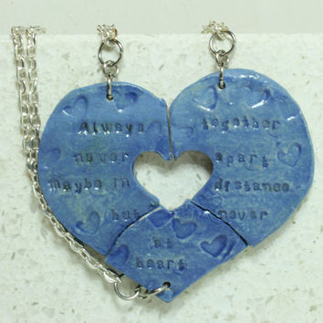 Friendship Necklaces Set of 3 aromatherapy pendants Always together quote Blue pendants AT37