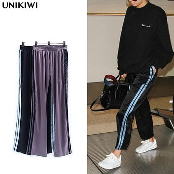 Vintage Women's Side Stripe Satin Pants.Casual Ladies Loose Trousers Clothing.All-match Tide models.Chic Streetwear