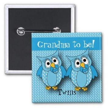 Blue Polka Dot Twin Owls | Grandma to be 2 Inch Square Button