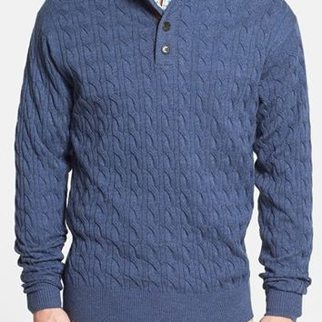 Men's Peter Millar Cable Knit Henley Sweater with Suede Trim