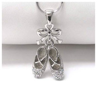 """Delicate Dance"" Rhinestone Accented Ballerina Shoes Necklace"