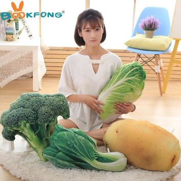 BOOKFONG Kawaii Toys 50Cm Fruits Vegetables Plush Toy Stuffed Dolls Plants 3D Pillow Potato Cabbage Broccoli Office Sofa Cushion