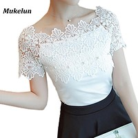 Women Lace Patchwork Blouse Shirt Casual Off Shoulder Top Sexy Short Sleeve White Blouse Ladies Summer Hollow Elegant Blouses