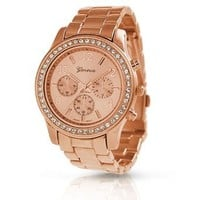 Geneva Rose Gold Plated Round CZ Steel Back Ladies Boyfriend Watch