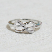 Infinity Ring with Tiny cubic zirconia stones