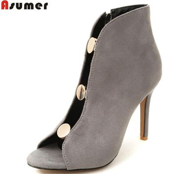 ASUMER black gray fashion spring autumn shoes woman peep toe zip flock thin heel super high heels ankle boots big size 33-43