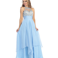 Perry Blue & Nude Open Back Beaded Empire Waist Gown 2015 Prom Dresses