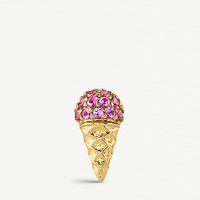 THE ALKEMISTRY Sydney Evan Ice Cream 14ct yellow-gold and pink sapphire single earring
