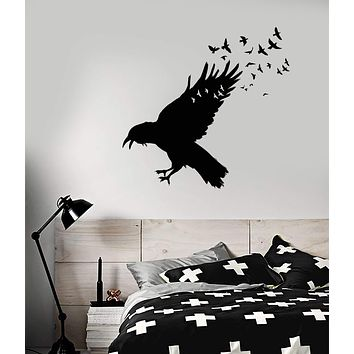 Vinyl Wall Decal Black Raven Flock Of Birds Gothic Style Stickers Unique Gift (1741ig)