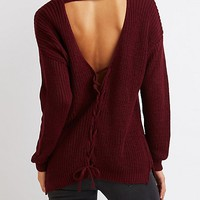 Lace-Up Open Back Sweater