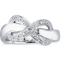 Sterling Silver Diamond Accent Infinity Design Ring | Overstock.com