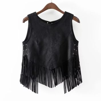 FREE SHIPPING Women's new fashion suede suede fringe with split lacing vest
