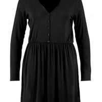 Plus Fiona V Neck Button Front Smock Dress | Boohoo