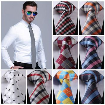 "Check 3.4"" 100%Silk Wedding Party Jacquard Woven Classic Men Tie Necktie CI"