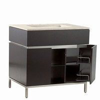 Modern Bathroom Vanity in Espresso with Brushed Nickel Metal Legs