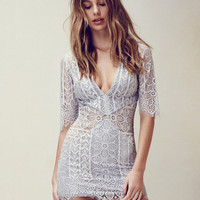 Silver Gray V-neck Half Sleeve Crochet Lace Bodycon Dress