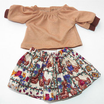 "Handmade Bitty Baby Clothes Twin 15"" Doll Girl Baby Doll Skirt Peasant Knit T shirt 2 pc Outfit Brown Teddy Bear Print Fall Autumn Harvest"