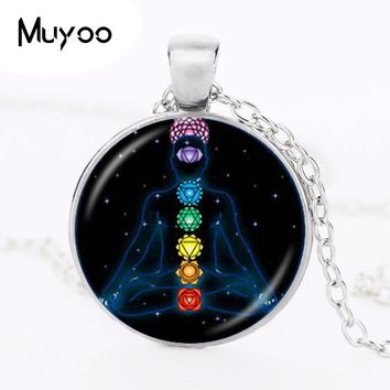 7 Chakra Reiki Healing Necklace Buddha Yoga Meditation Pendant Spiritual Om Symbol Hope Jewelry Chain Statement Necklace HZ1