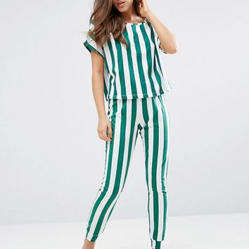 ASOS Deckchair Stripe Tee & Jogger Pajama Set at asos.com
