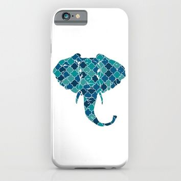 ELEPHANT SILHOUETTE HEAD WITH PATTERN iPhone & iPod Case by deificus Art