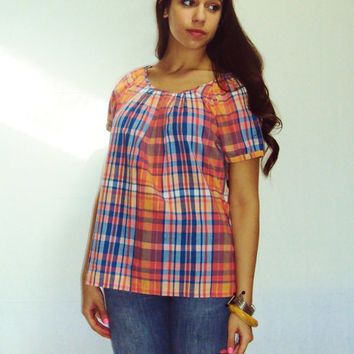 Pastel Plaid SMOCK Blouse Shirt Top Paper Thin 90s vintage puff sleeves Oversize