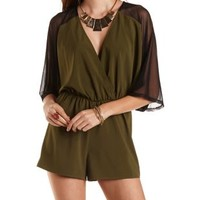 Three-Quarter Sleeve Kimono Romper by Charlotte Russe - Olive