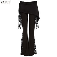 New Women Black Flare Pants Patchwork Lace Stylish Mid Waist Elastic Wide Leg Pants
