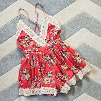 Buffalo Rose Romper in Coral