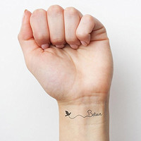 Believe Bird Trendy Black Temporary Fashion Realistic Epic Tattoo Set of 2