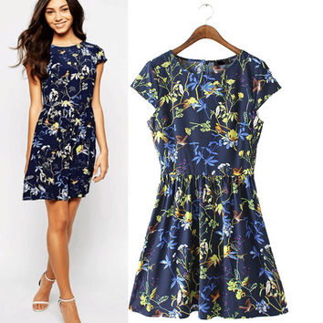 Stylish Round-neck Short Sleeve Print Slim Women's Fashion One Piece Dress [5013269444]