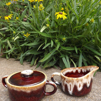 Brown Sugar and Creamer Set / Vintage Ceramic Drip Glaze Pottery