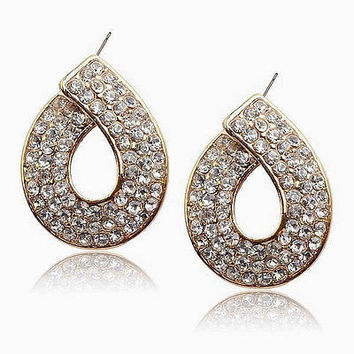 Rhinestones & Gold Tone Classic Dress Post / Stud Pierced Earring Set.... NEW