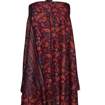 Women's Magic Wrap Skirt Blue/Red Reversible PREMIUM Silk blend Sari Halter Dress ...
