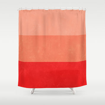 Red Grunge Stripes Shower Curtain by Kat Mun | Society6
