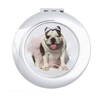 English Bulldog Compact Mirror, hand mirror for make-up application, bulldog lovers, princess